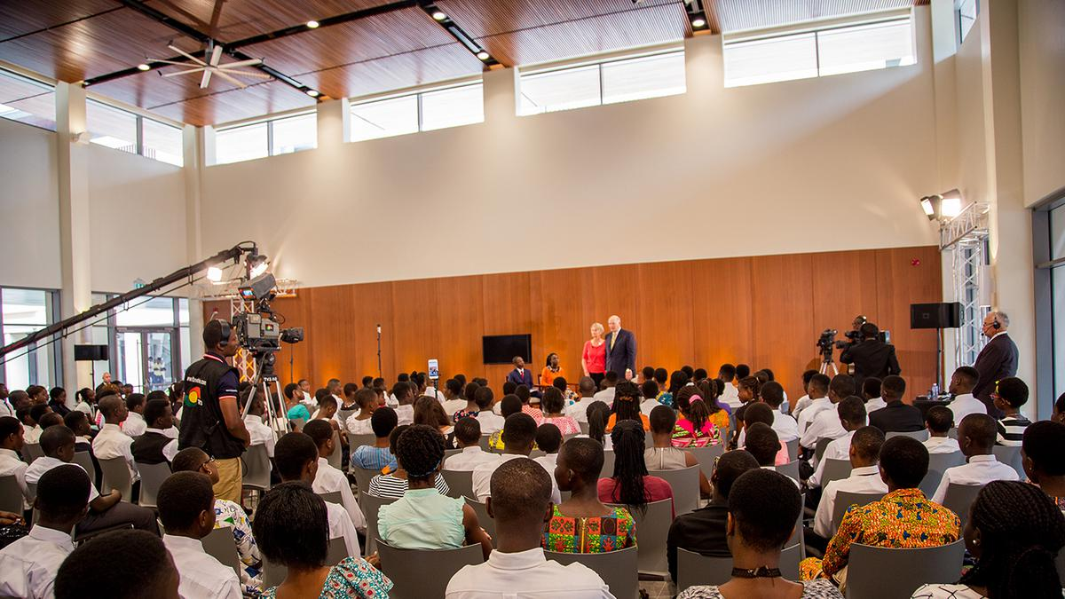 Ghanaian youth gathered at Africa Face to Face event with Elder Renlund
