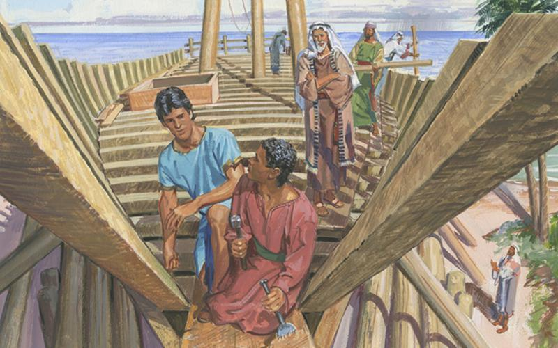 Nephi and Brothers Build a Ship