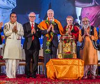 Elder Christofferson accepting Peace Prize in India