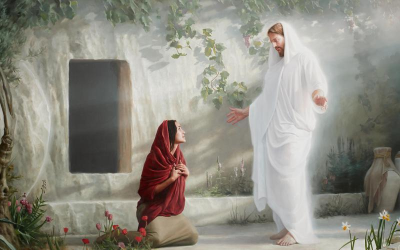 Jesus Christ and Mary outside the tomb