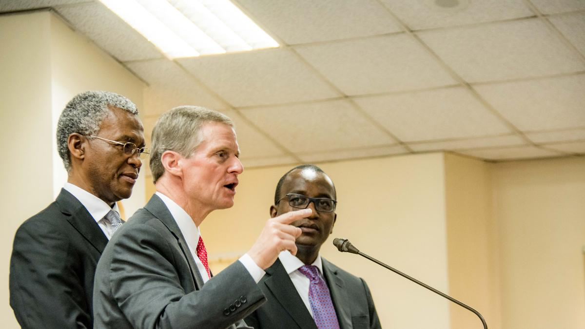 Elder David A. Bednar teaching members in Africa