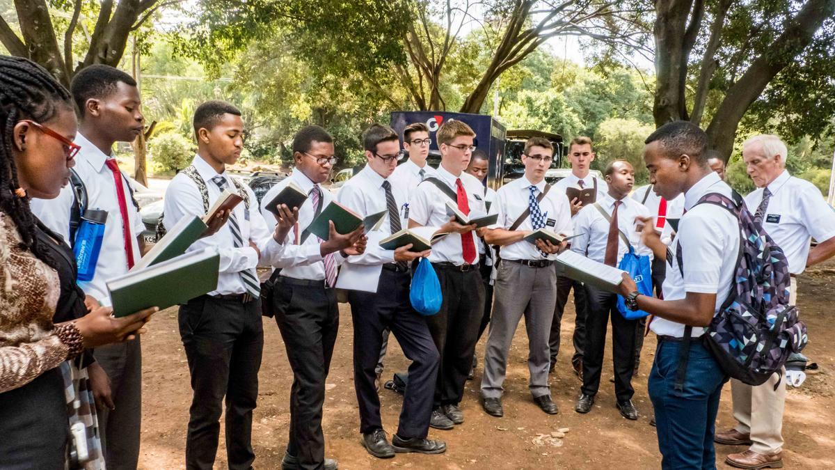 Missionaries singing in the park in Kenya