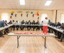 LDS members in Kenya participating in a quilt activity for Light the World