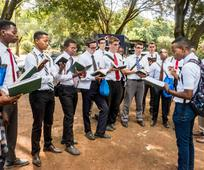 Missionaries singing in the park in Kenya