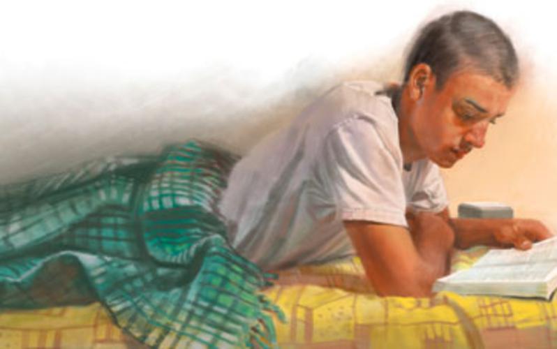 man reading BoM
