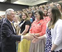 Elder Uchtdorf greets missionaries at MTC