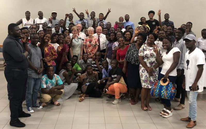 Adenta Stake YSA holds Family Home Evening with Temple President.