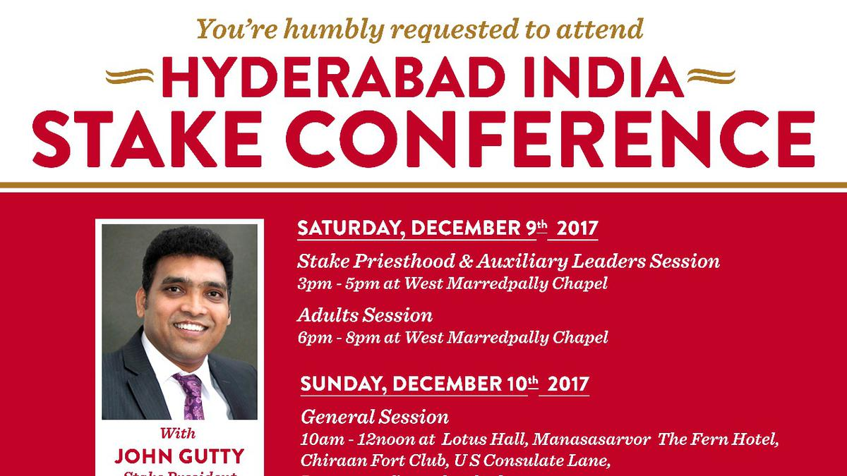 Hyderabad Stake Conference 2017 December