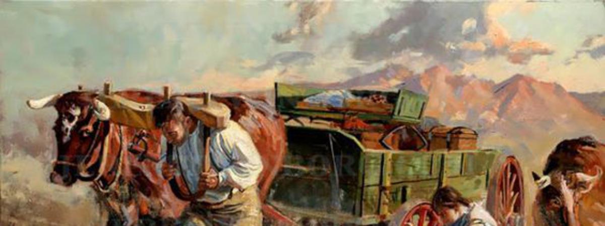 Pioneers crossing the lake