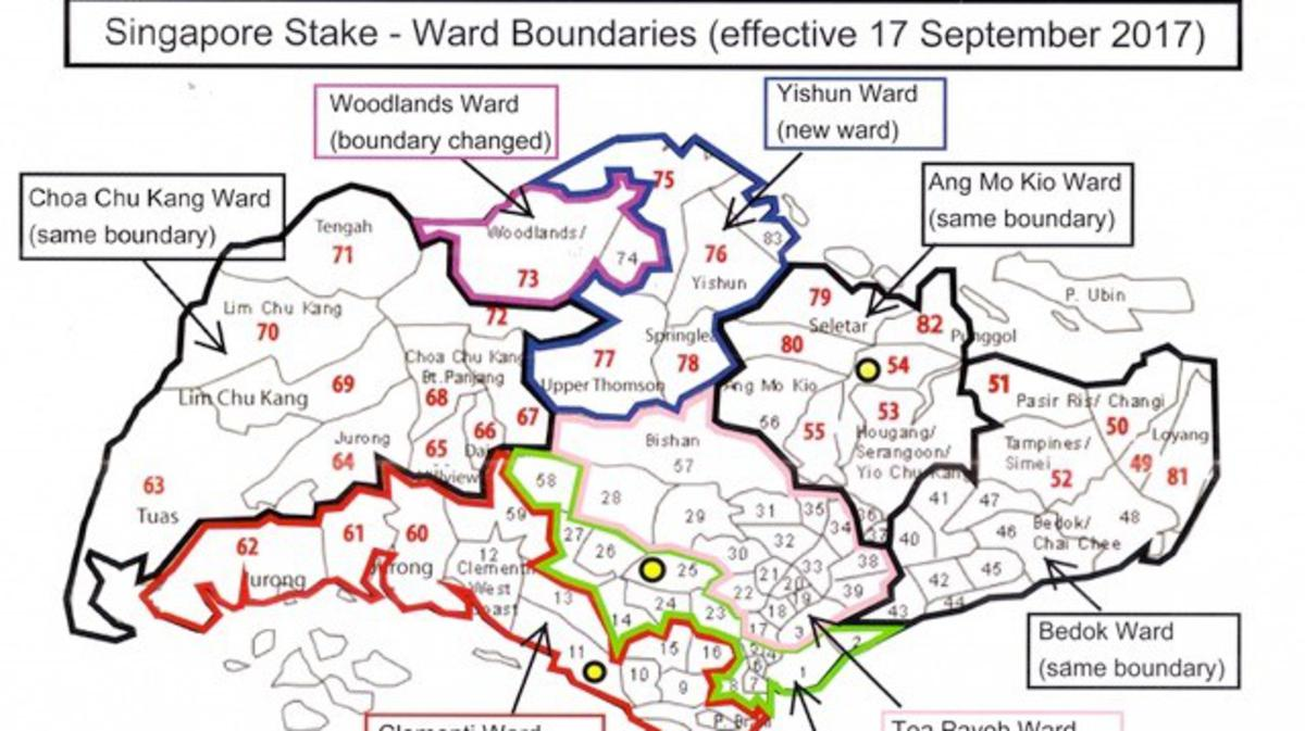 Singapore Stake - Ward Boundaries (effective 17 September 2017)