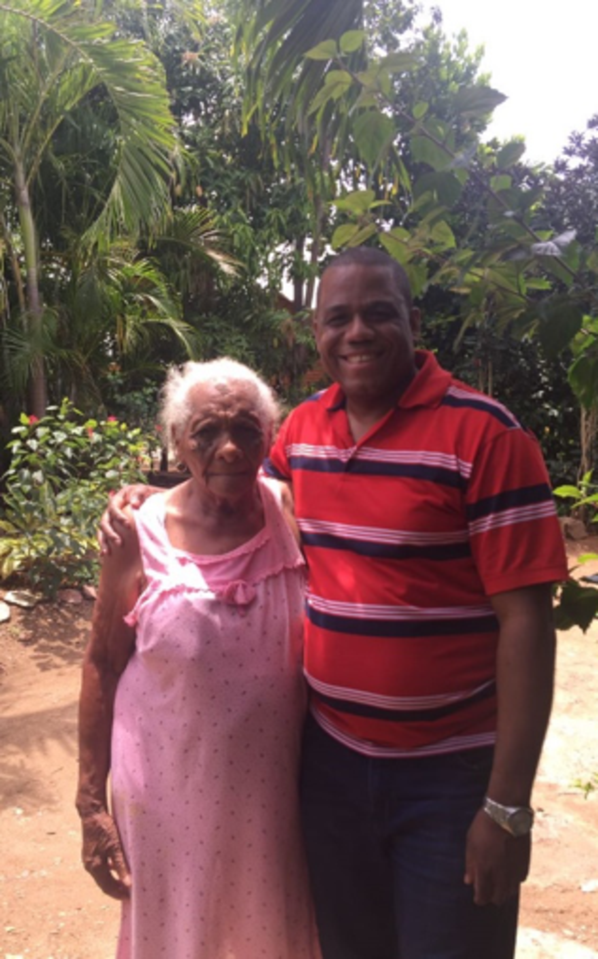 With my aunt Florita Peña, who is 95 years old.