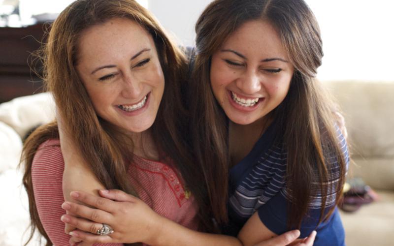 Young women laughin