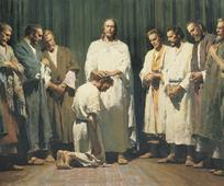 Gesù Cristo consegna il Sacerdozio ai suoi apostoli tramite imposizione delle mani sul capo di ognuno di loro