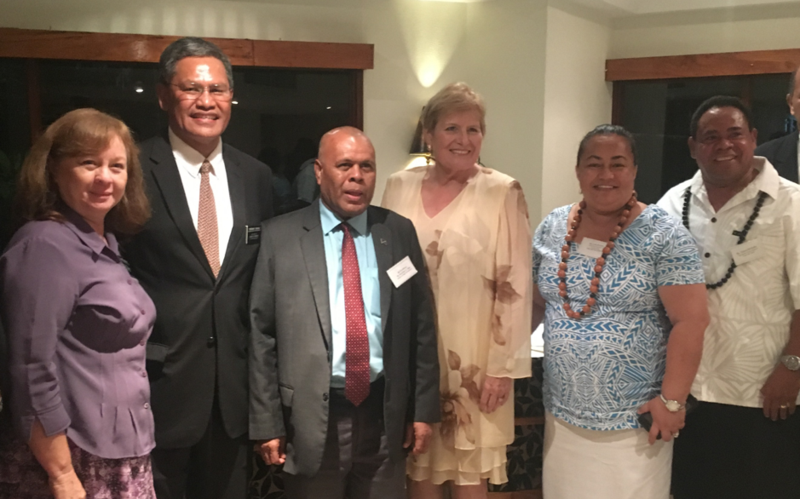 Sister Ronette Taeoalii with her husband, Port Moresby Mission President, Voi Taeoalii; Solomon Ambassador to Papua New Guinea, Barnabas L Anga; Her Excellency - Cathernine Ebert-Gray, US Ambassador to Papua New Guinea; and Lydia McCarthy, the Church's Public Affairs director and her husband Pulotu Fa McCarthy, who is also the Honorary Consul for Samoa to Papua New Guinea