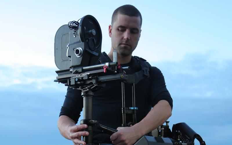 Tim Butters operating a Steadicam