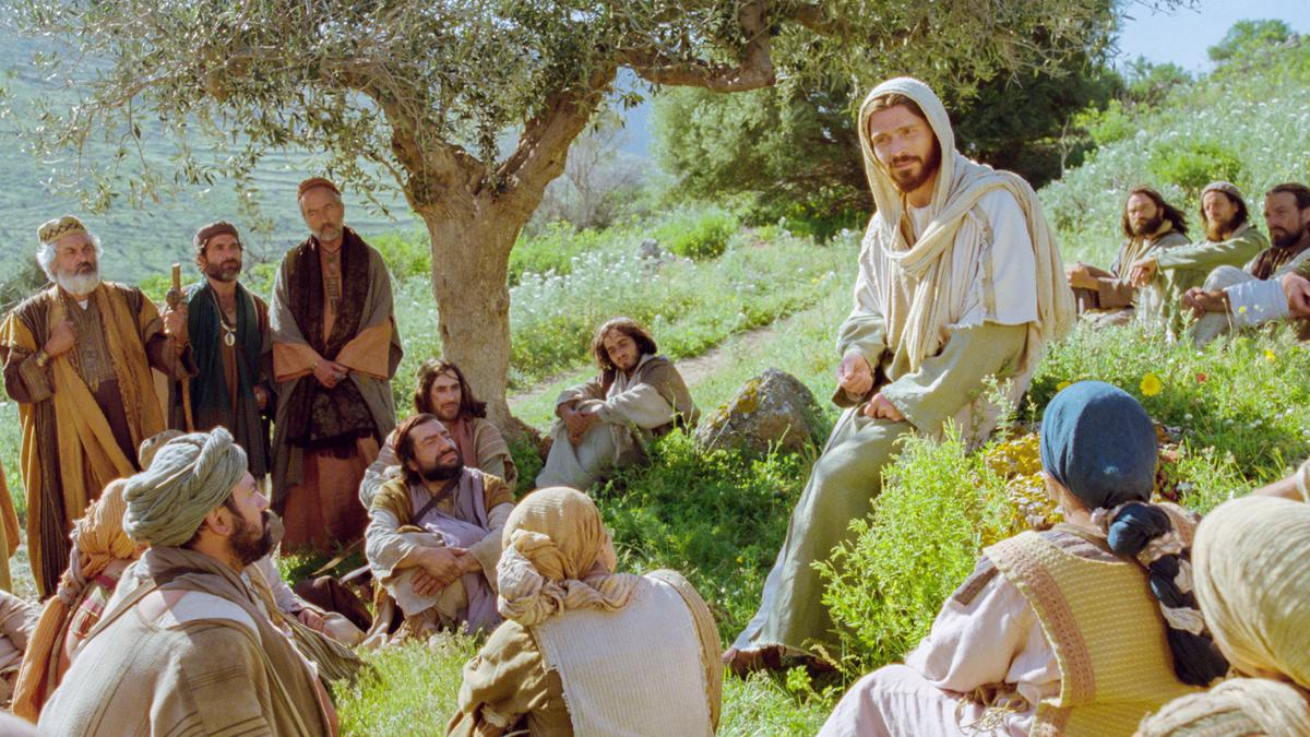 Jesus ministering.