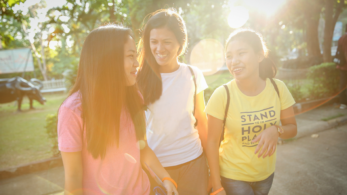 Young women are ministering a friend.