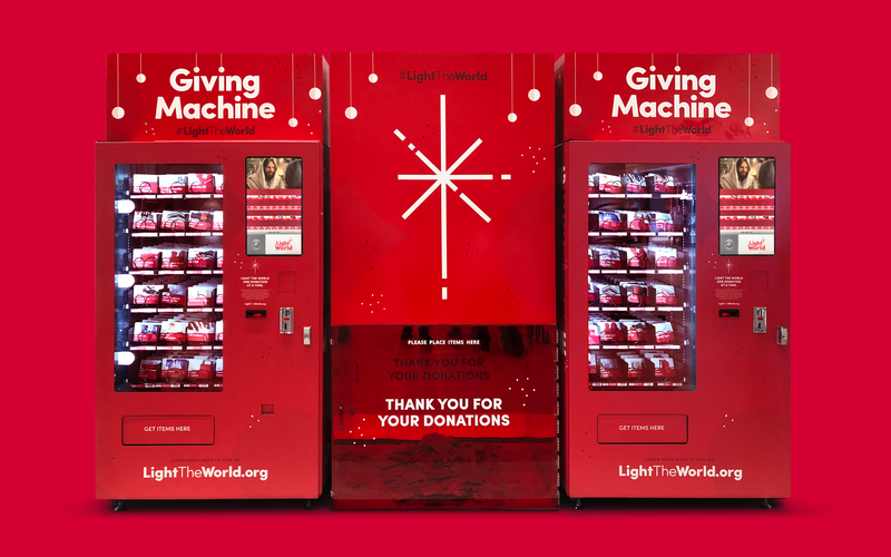 Everybody is welcome to Give as Jesus Gave. Donate items for the needy through the Giving Machine.