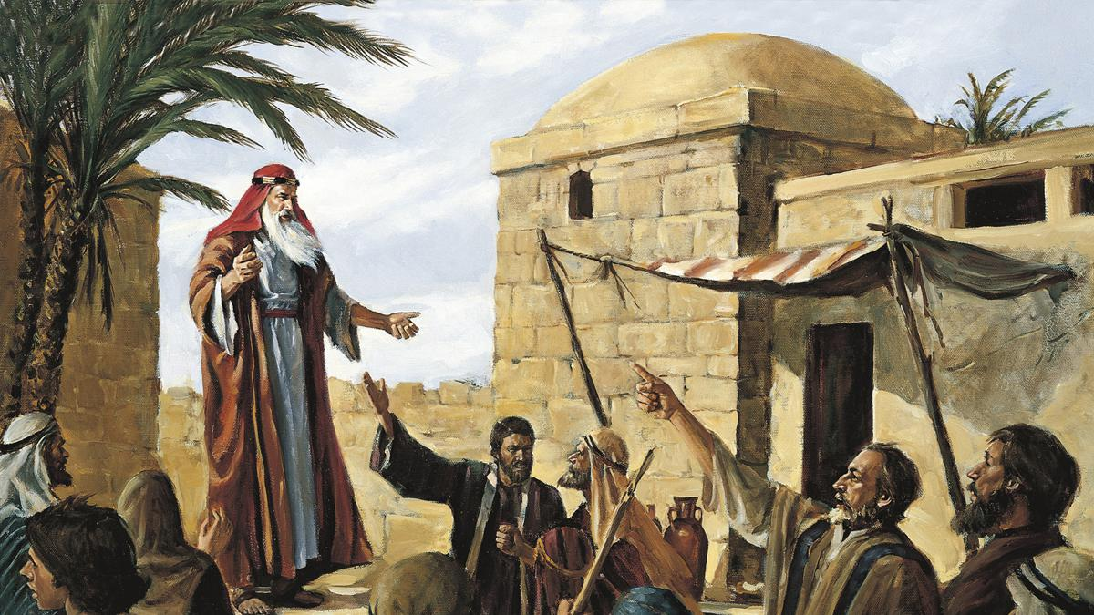 Lehi, a Book of Mormon prophet, prophesying to the people of Jerusalem
