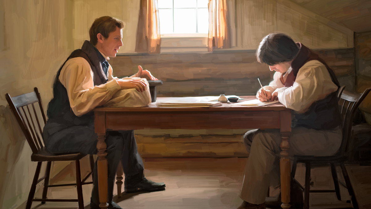 Joseph Smith translating The Book of Mormon with the help of a scribe.