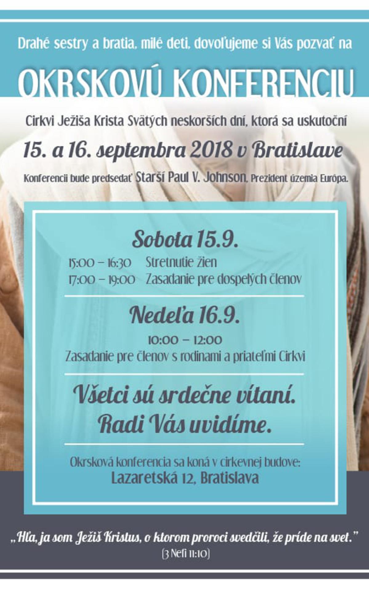 Pozvánka na okrskovú konferenciu