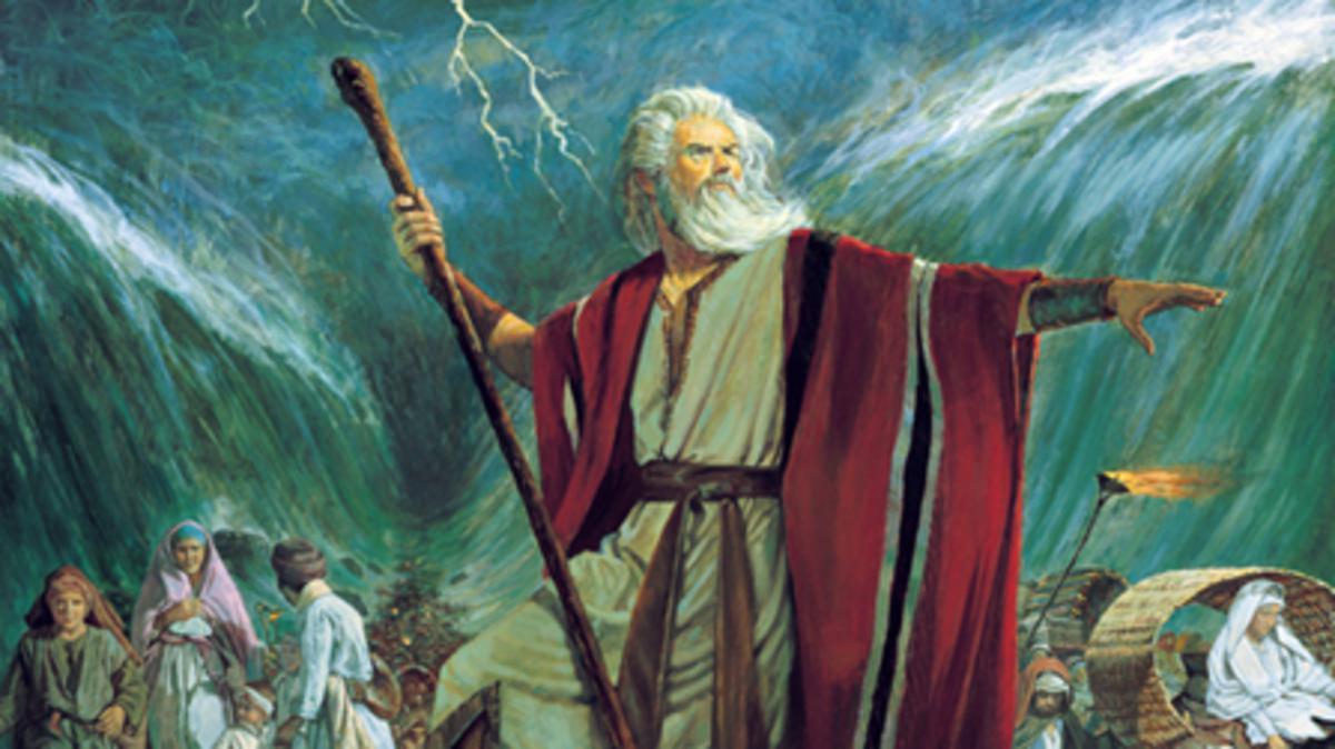Moisés en el momento de la división del mar Rojo