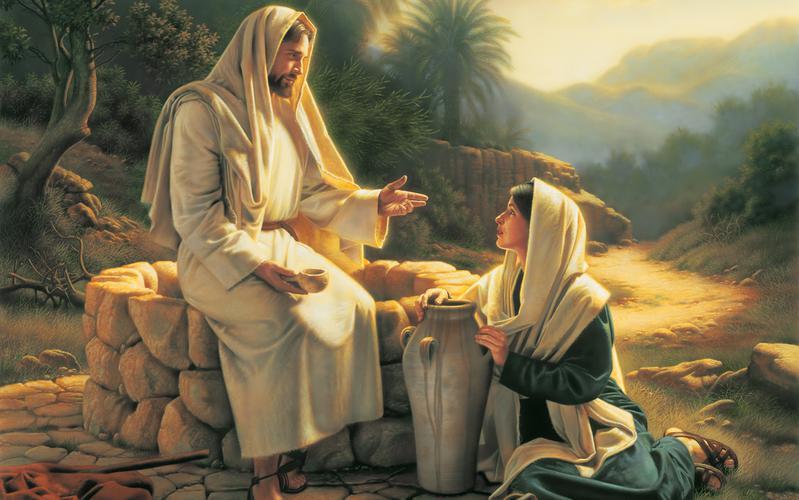 Jesús enseña a la mujer junto al pozo