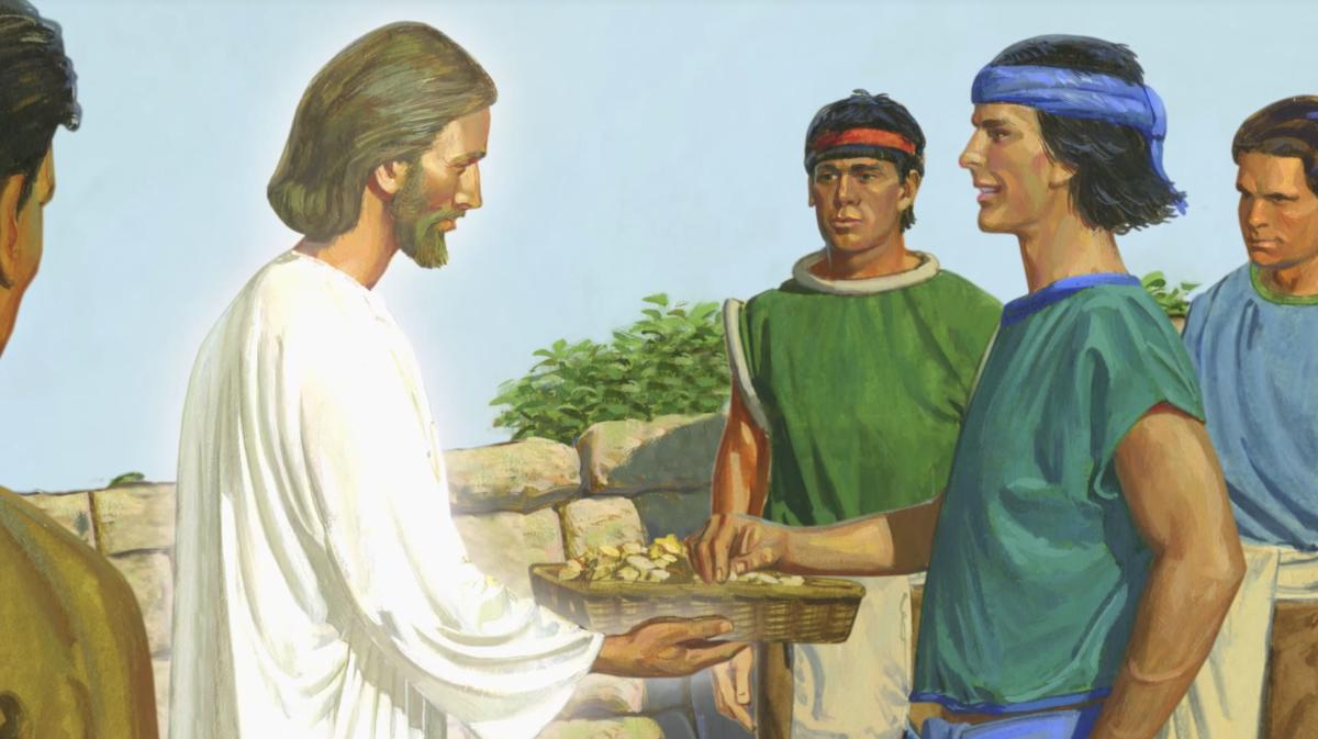 Иисус Христос учит причастию и молитве