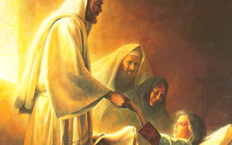 215: Иисус благословляет дочь Иаира