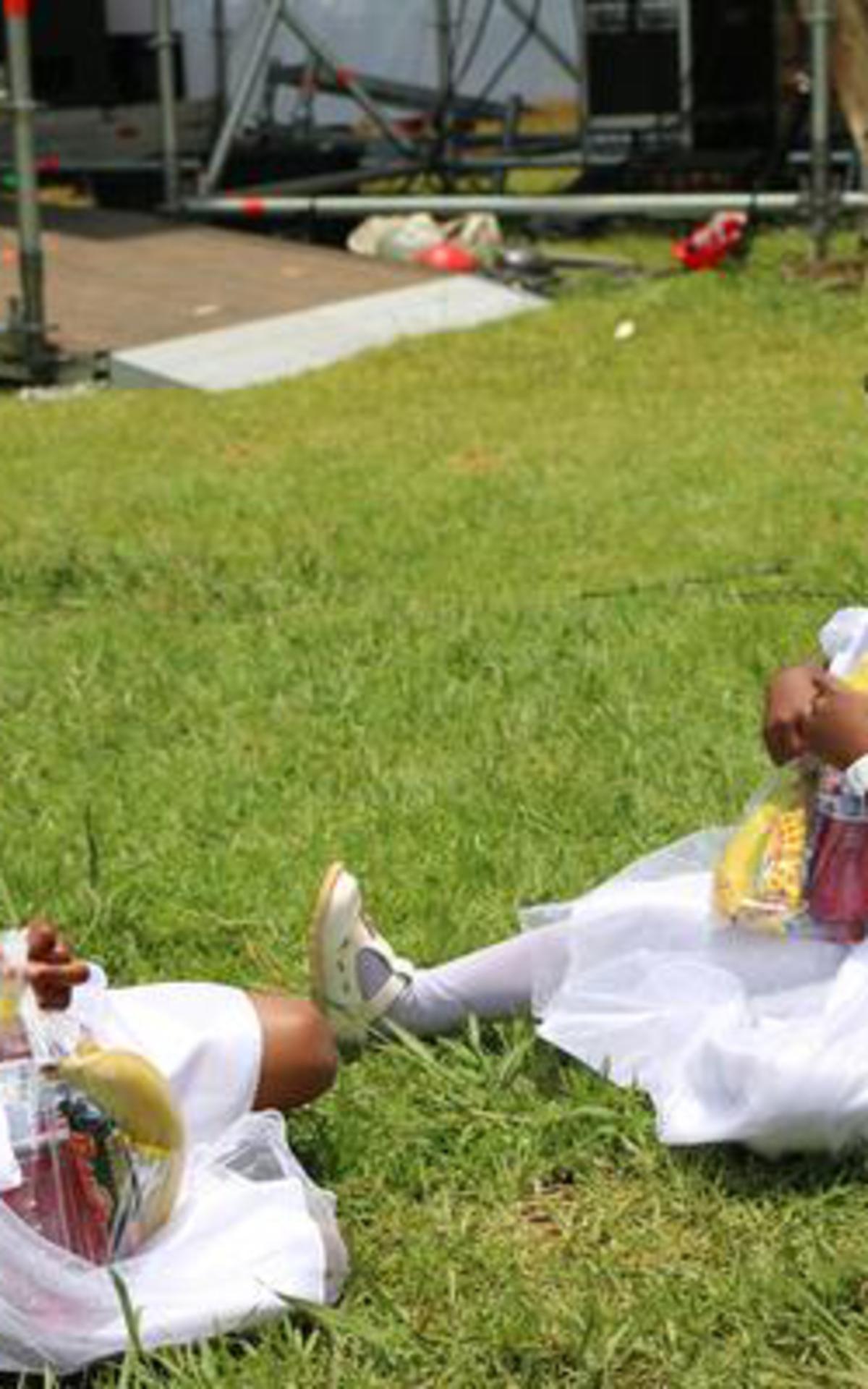 Primary girls resting