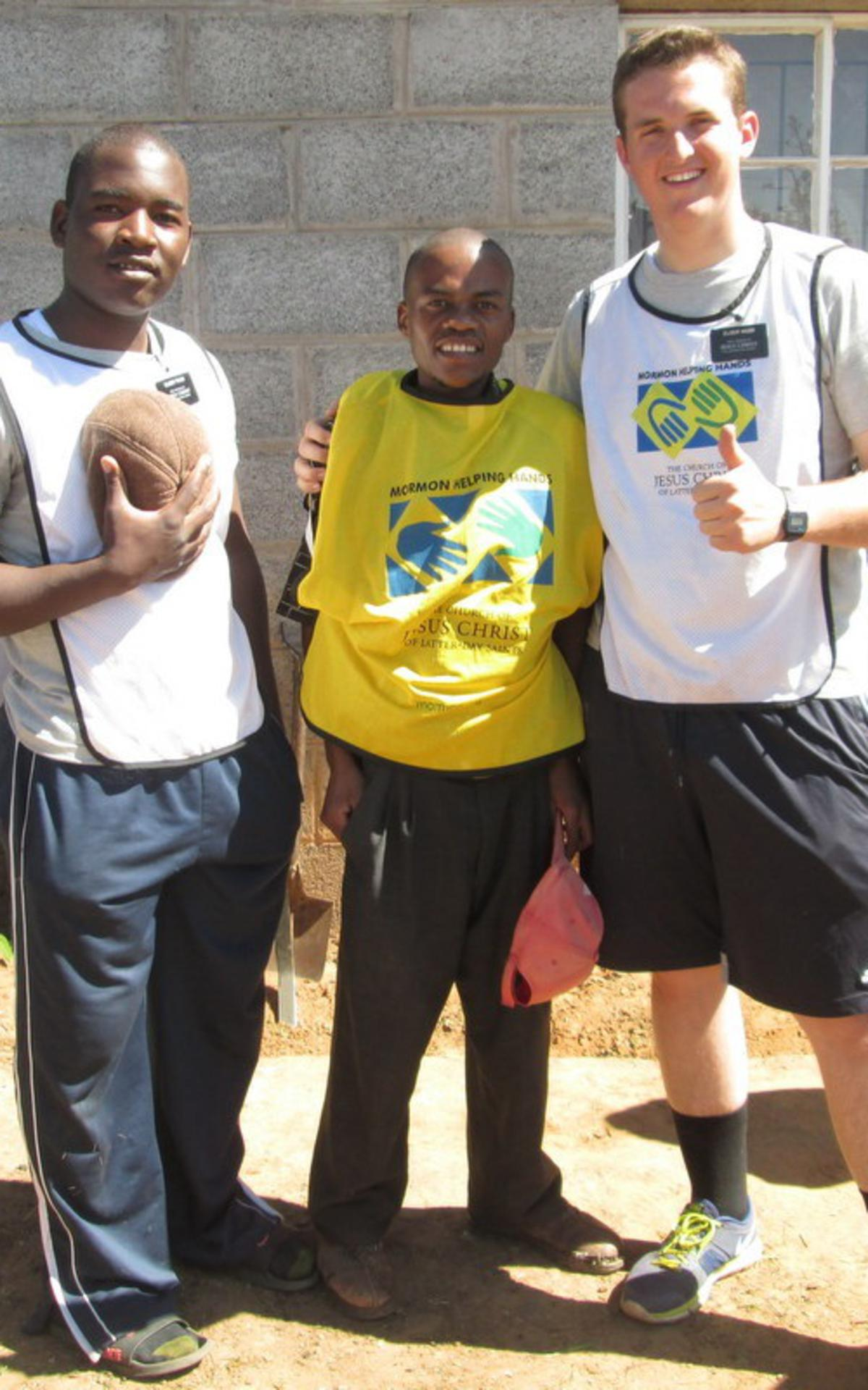 Elder Tandi and Elder Webb with their investigator David Nkhomo