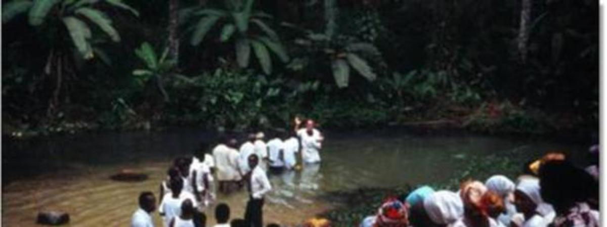 African saints being baptized