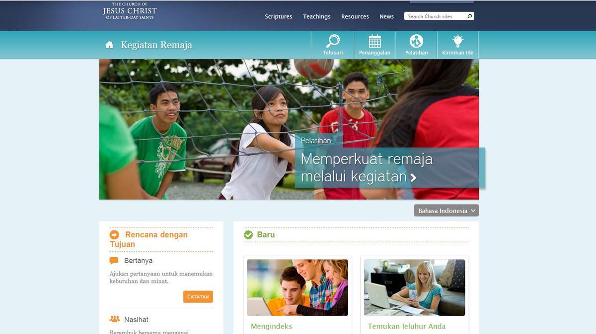 """Kegiatan Remaja"" - Tautan Baru di Situs Web lds.org"
