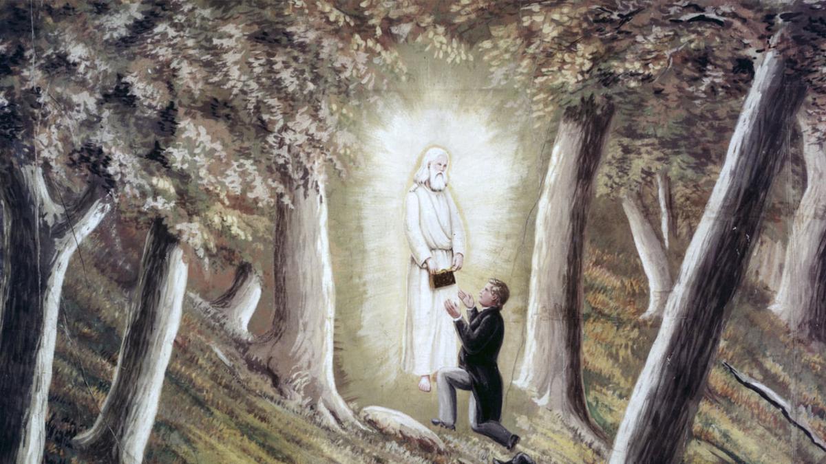 Joseph Smith recebendo as placas de ouro do anjo Morôni