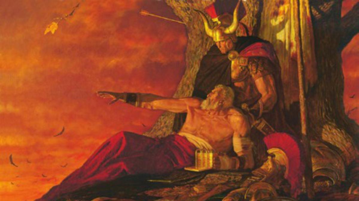 O antigo profeta Mórmon, do Livro de Mórmon, vendo a destruição de seu povo enquanto protegia os registros cuidadosamente.