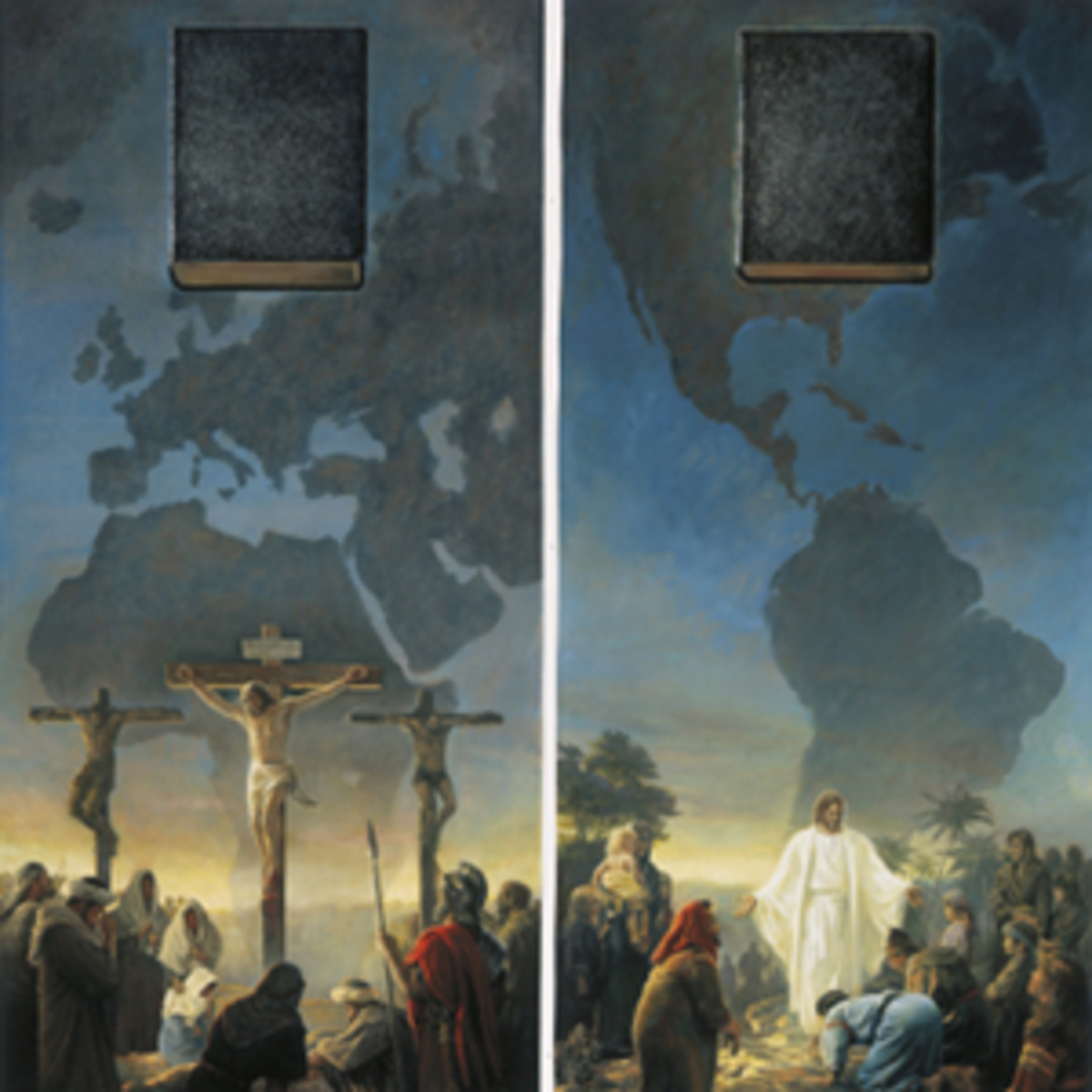 Jesus crucified on the cross and taught in the Americas