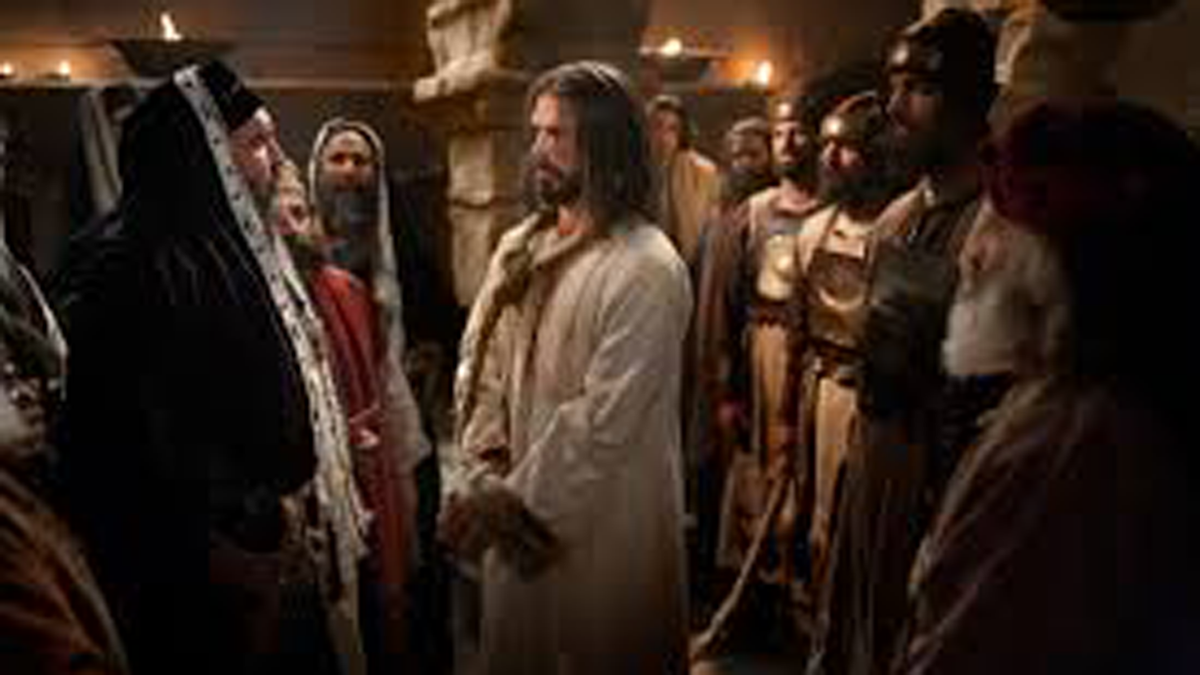 Jesus Christ is tried by Caiaphas