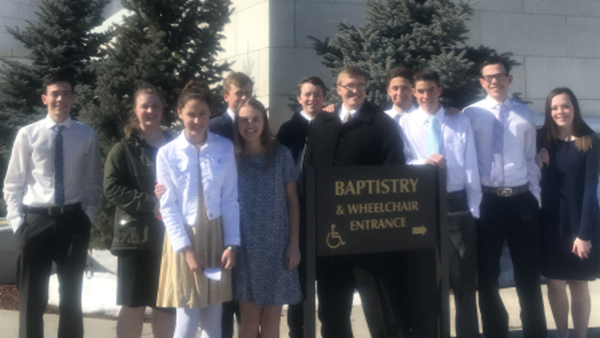 Cardston youth ready to go into the temple for baptisms