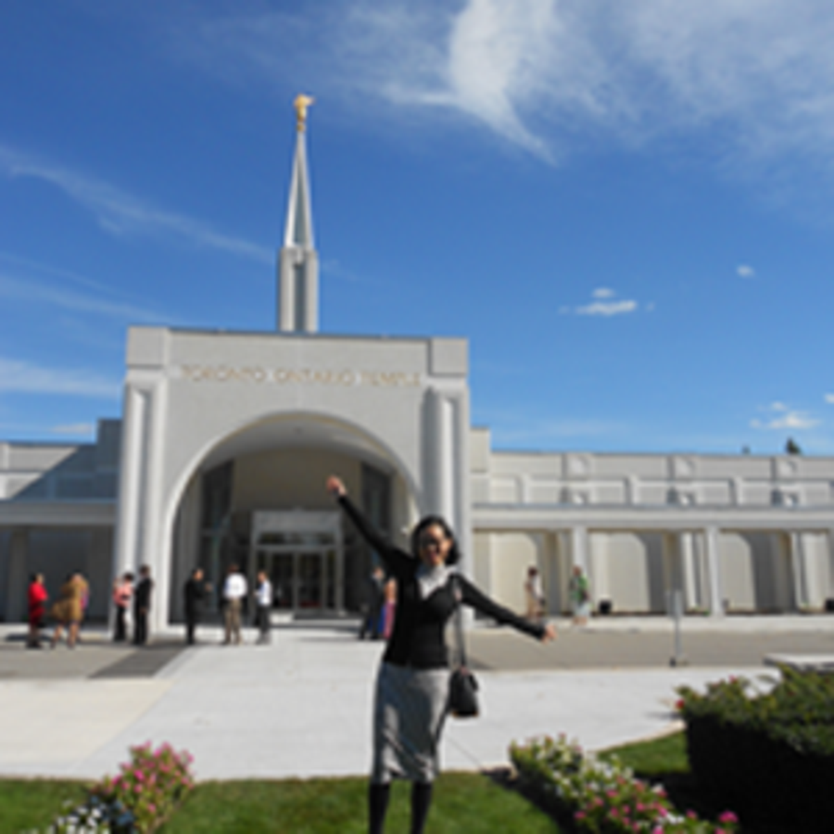 New convert in front of the temple