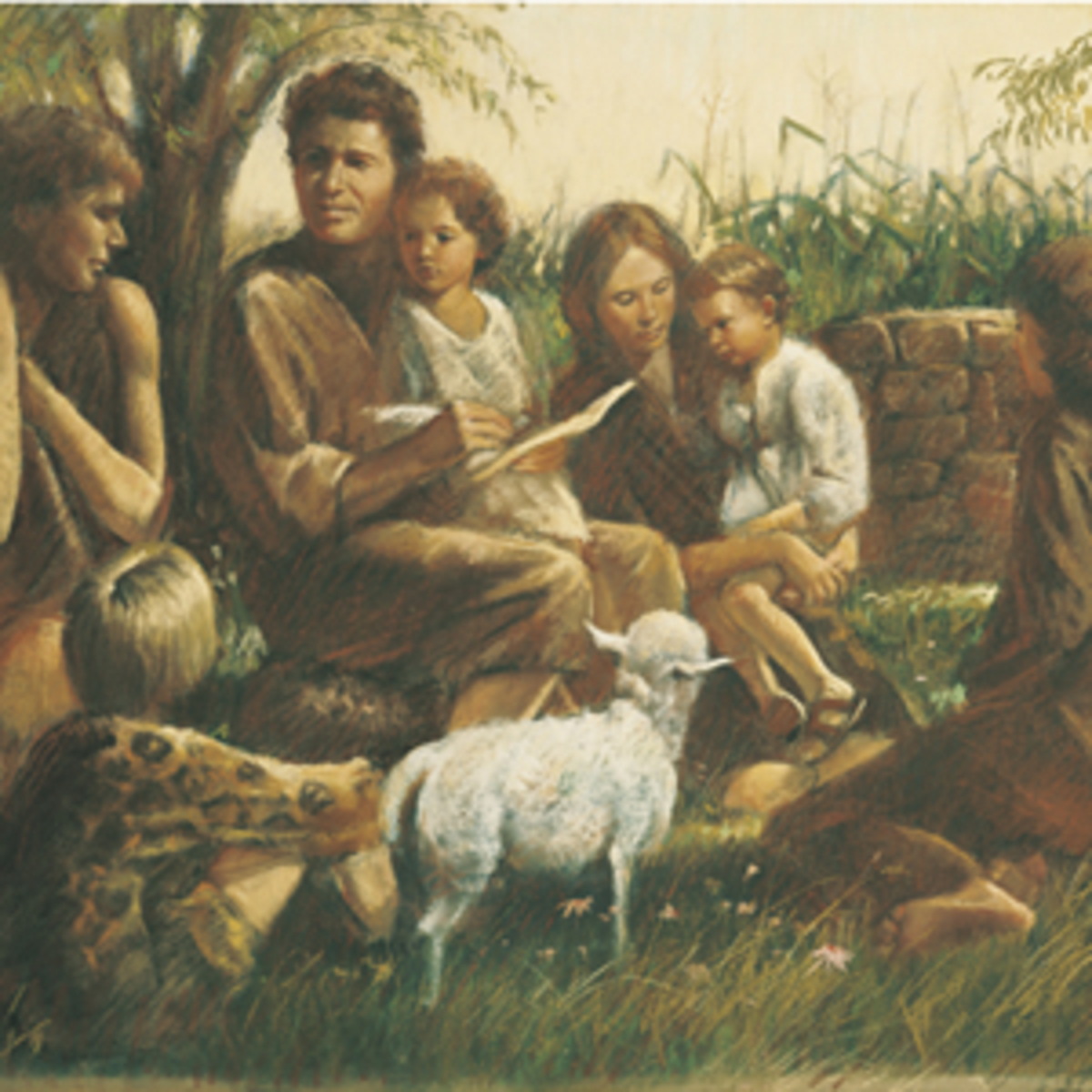 Adam and Eve teaching children