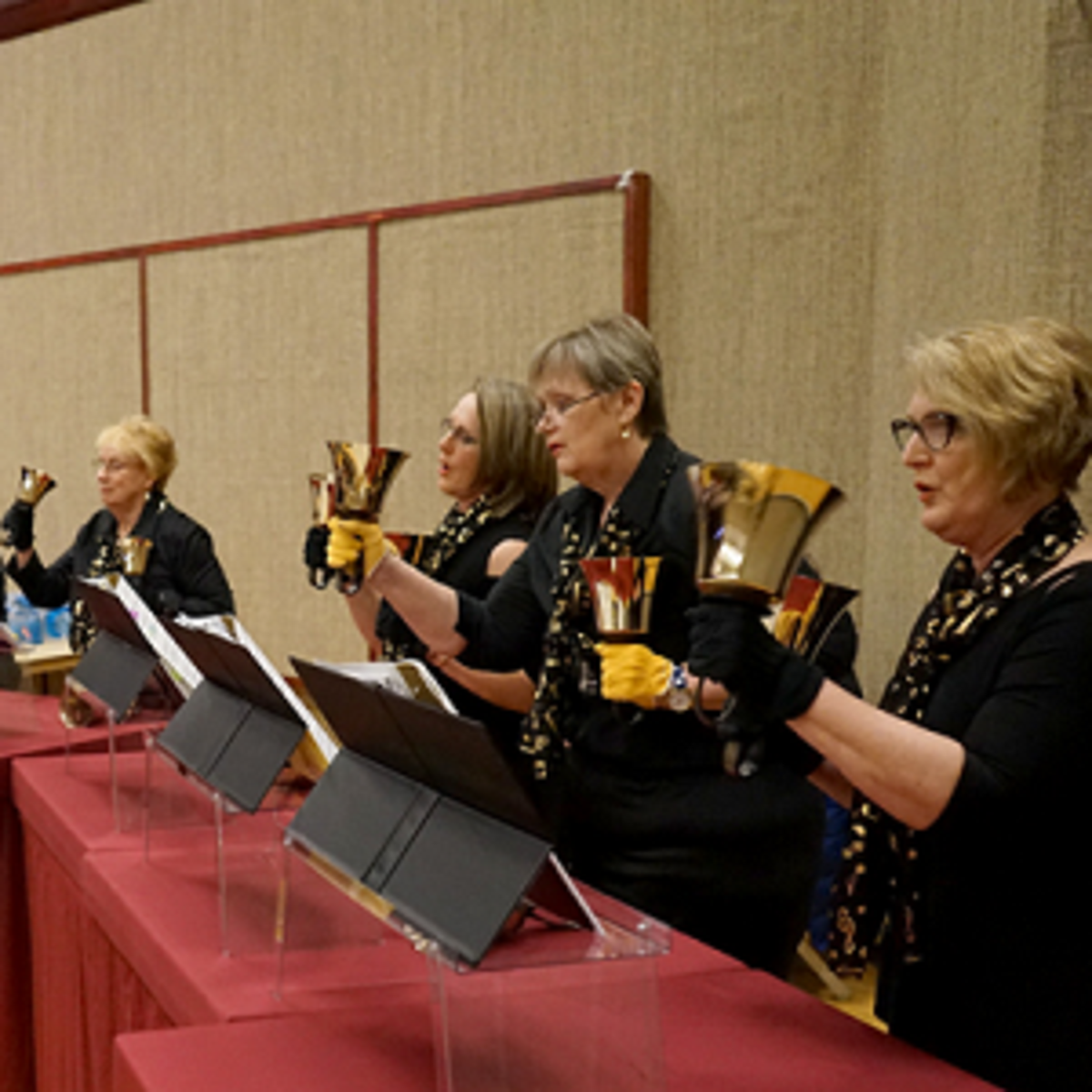 "The Maple Ridge United Church Sacred Bronze Hand Bell Ringers performed ""Sweet Hour of Prayer"" and ""I Will Exalt Thee."""