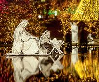 Temple Square Reflecting Pool and lights.jpg