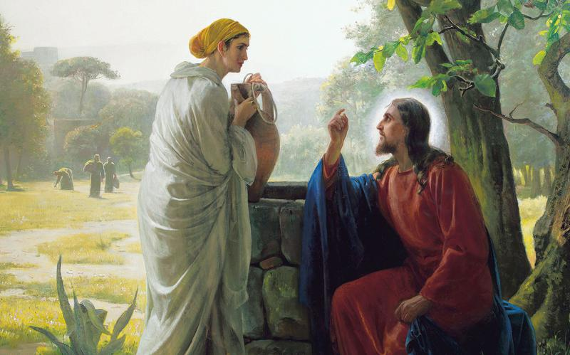 Jesus and a woman at the well of Bethesda