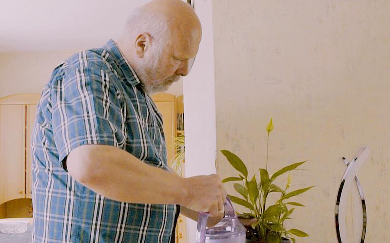 En mann vanner en plante