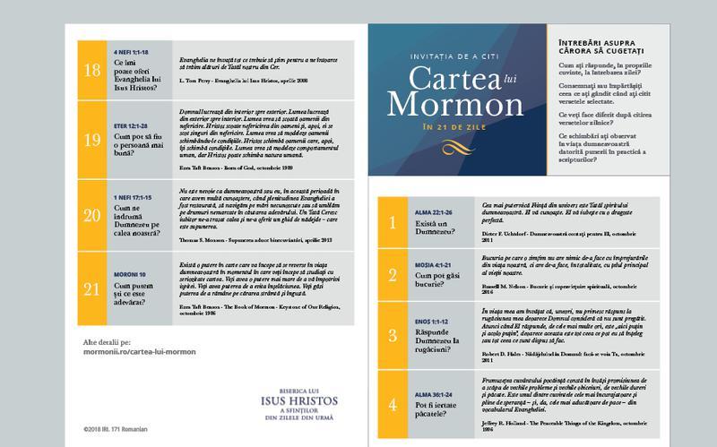 Invitația de a citi Cartea lui Mormon în 21 de zile – calendar