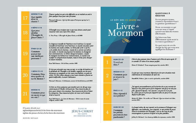 Calendrier des 21 jours du Livre de Mormon