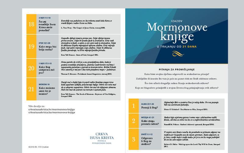 Kalendar od 21 dana za Mormonovu knjigu