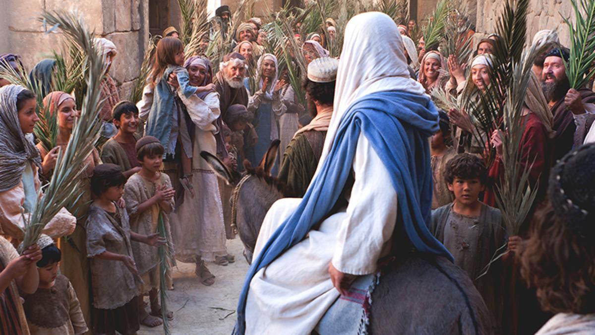 Palmsonntag - Jesus reitet auf einer Eselin in Jerusalem ein