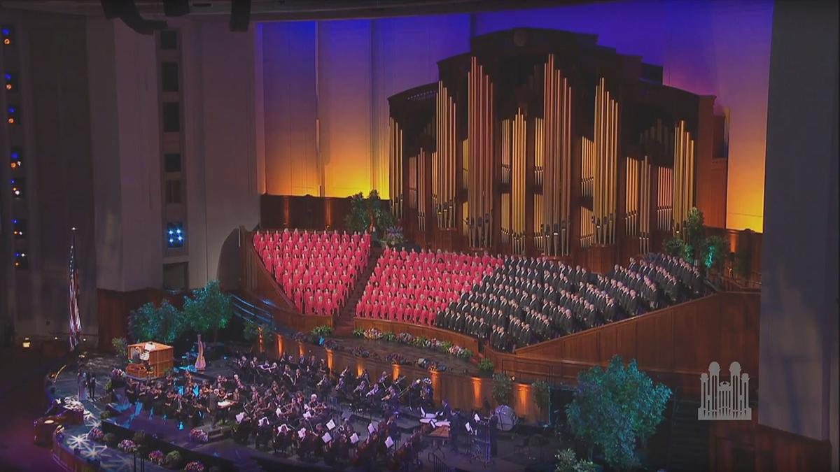 Mormon Tabernacle Choir singing in the Conference Center in Salt Lake City