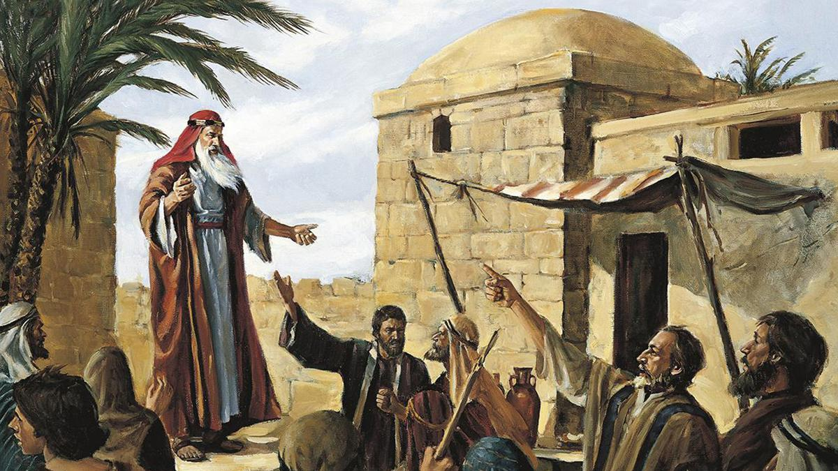 Lehi predigt in Jerusalem